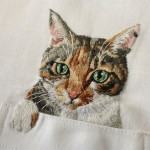 Hiroko Kubota Embroiders Internet Cats on Shirts
