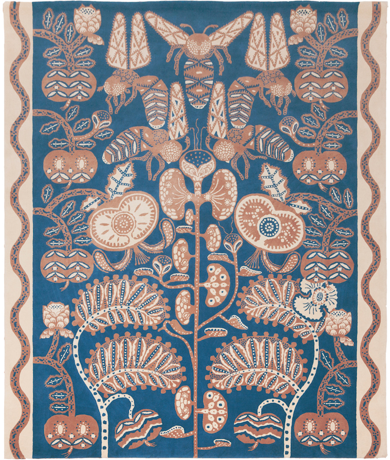 Bees_rug_blue