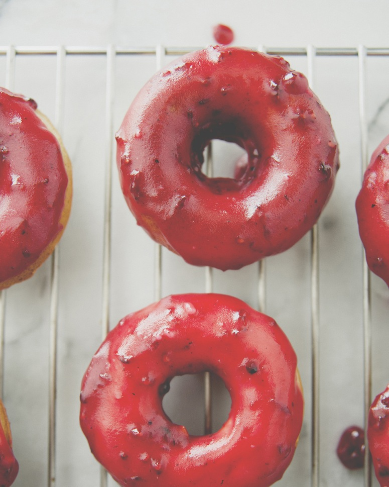 Blackberry Glazed Brown Buttermilk Doughnuts via The Kitchy Kitchen