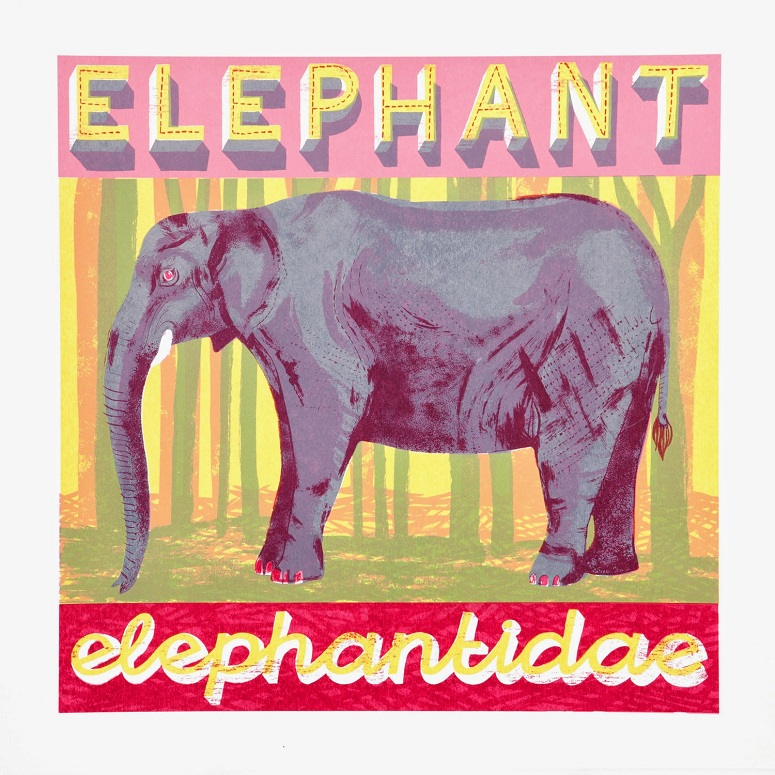 E is for Elephant who is anything but light.