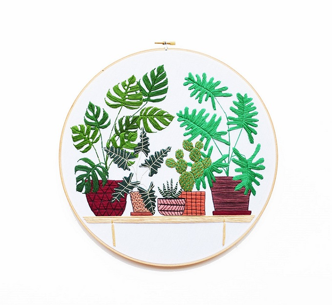 Sarah K Benning S Meticulously Embroidered Houseplants