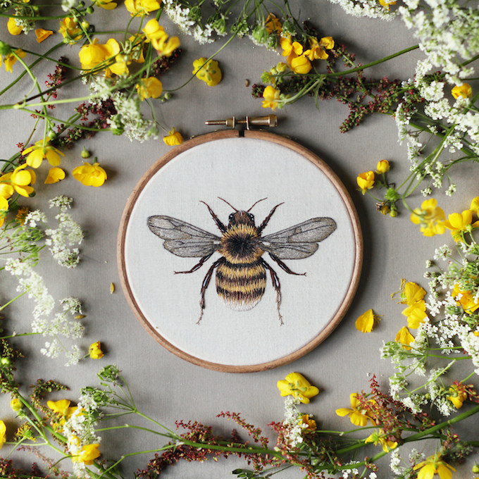 Emillie ferris embroideries pay homage to animals insects