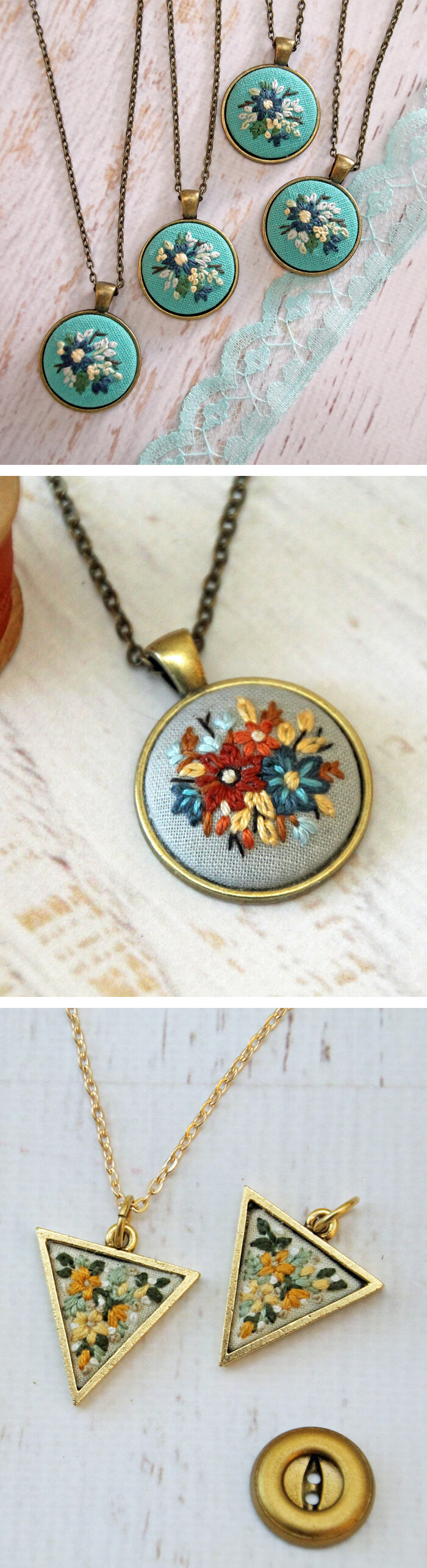 Embroidered necklaces by Itty Bitty Bunnies