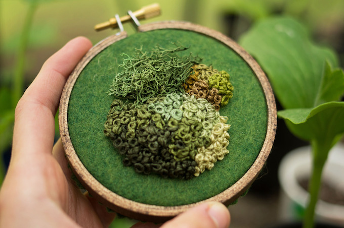Moss embroidery by Emma Mattson