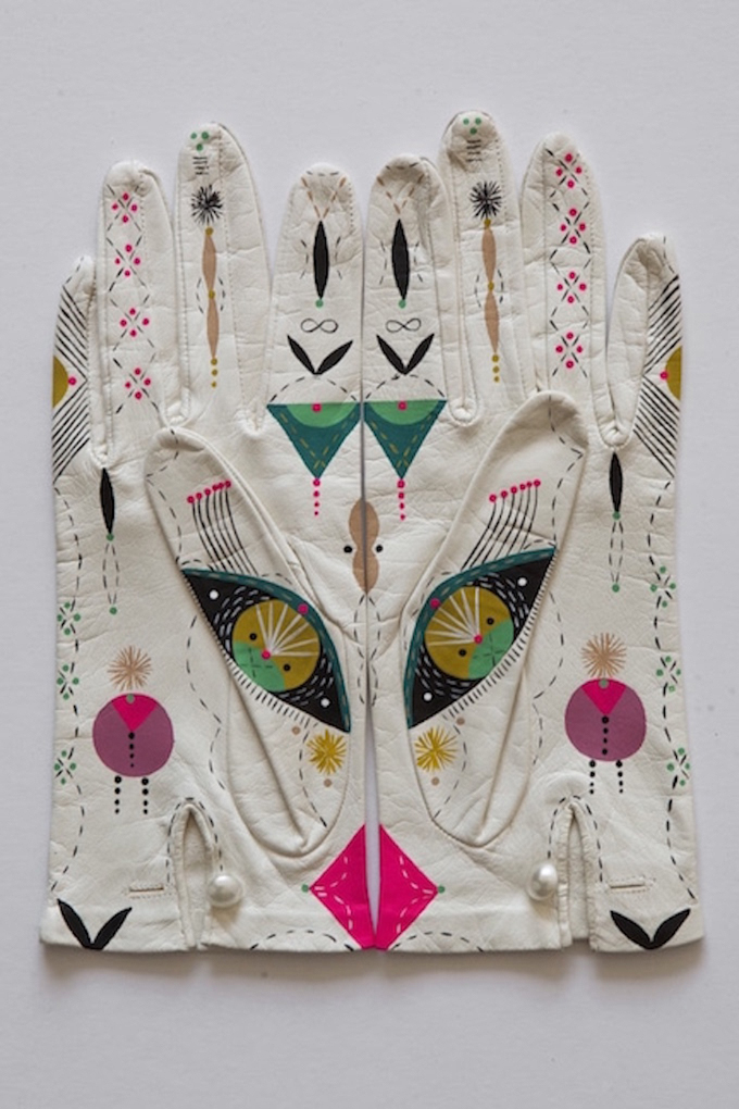 Painted gloves by Bunnie Reiss