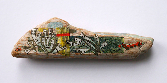 Angie Lewin collage on driftwood