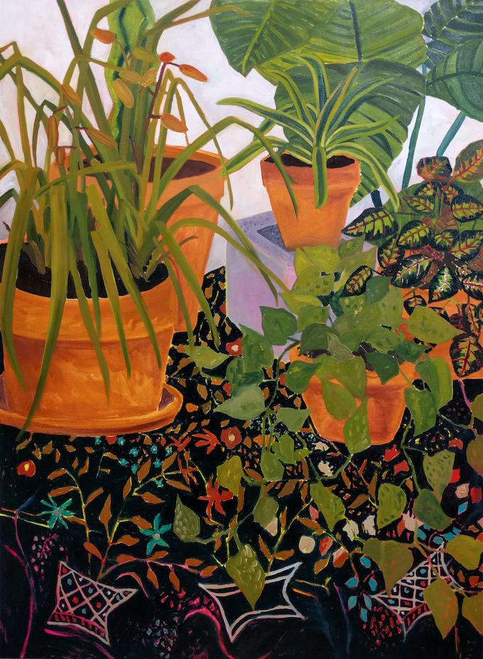 Anna Valdez, Plants on Black Wool Embroidered Bed Cover