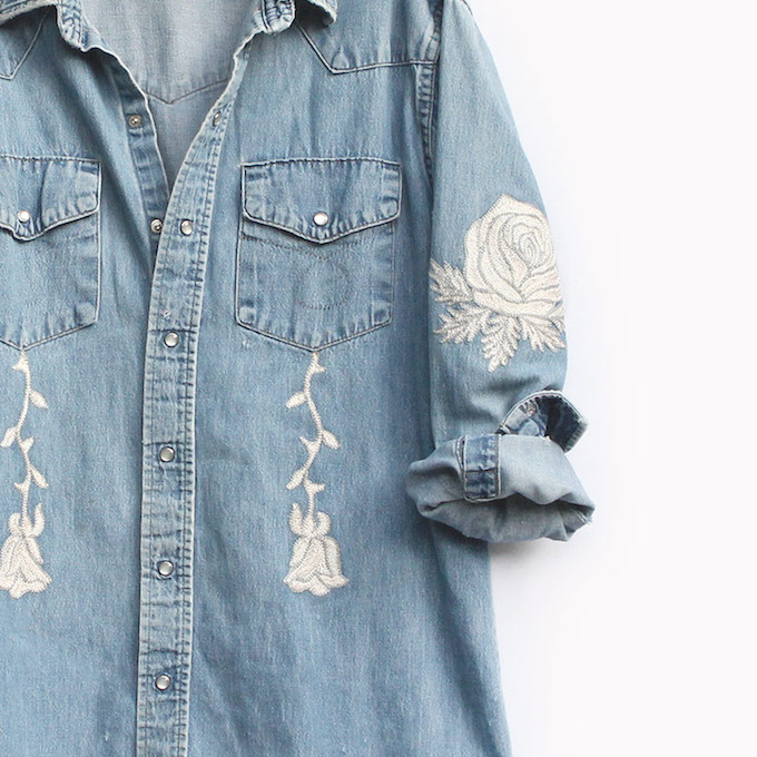 Embroidred denim by Bliss and Mischief