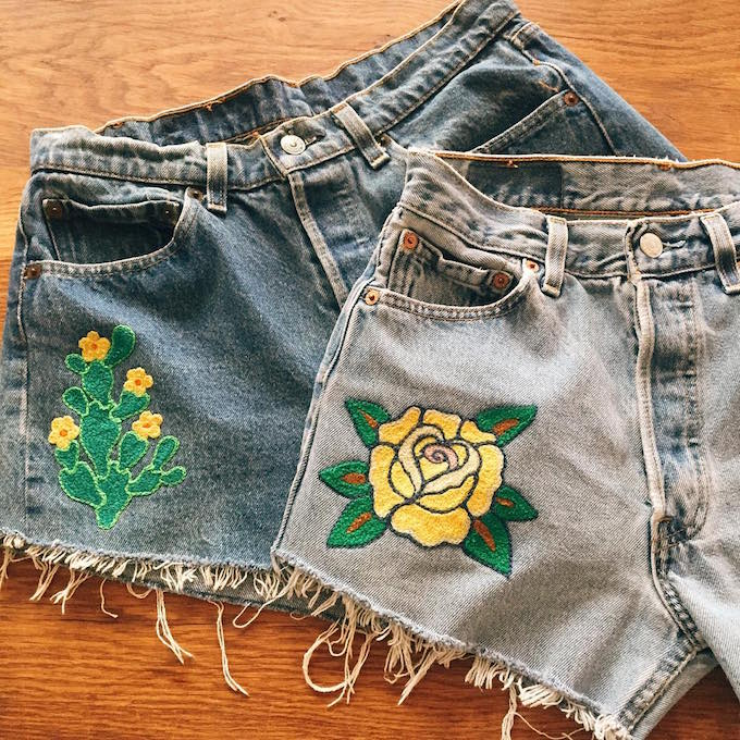 Embroidered denim by Die Tryin