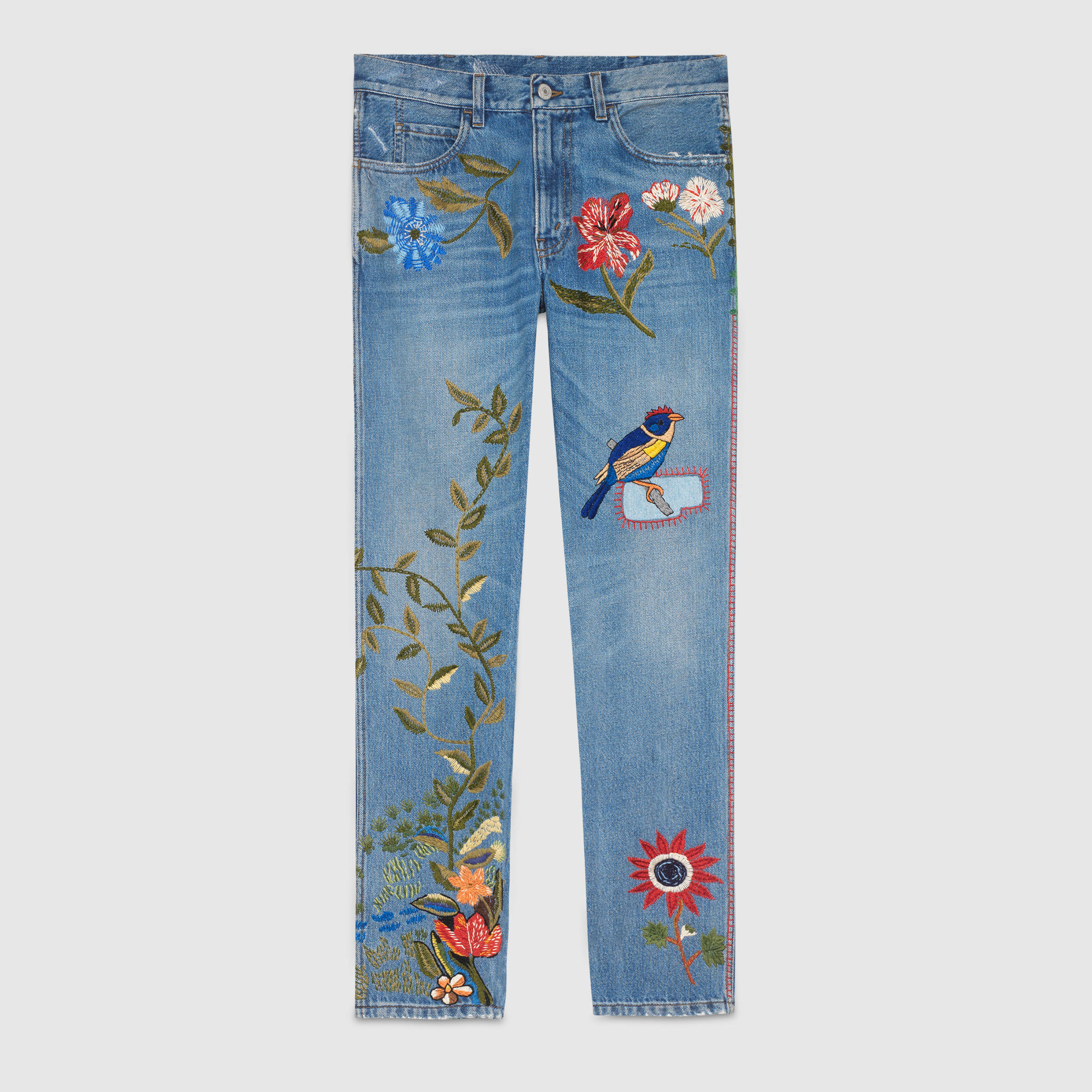 Embroidered denim by Gucci