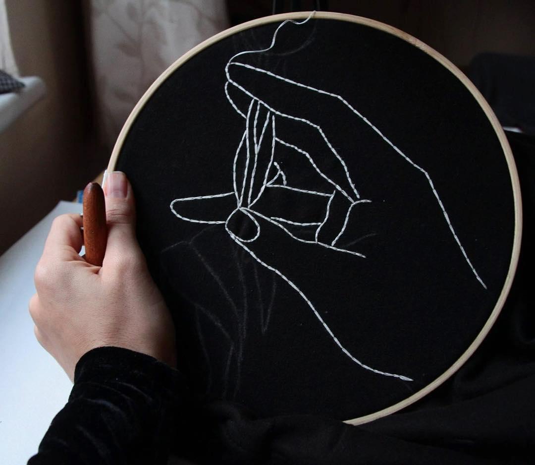 Sofia Salazar embroidered portraits