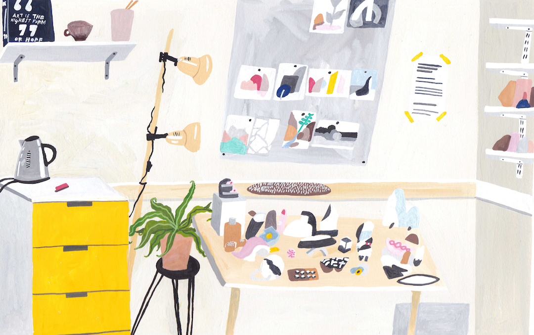 Illustrated interiors by Liz Rowland
