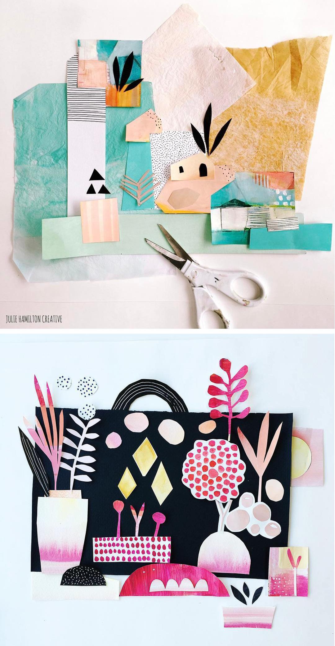 Sketchbook collages by Julie Hamilton