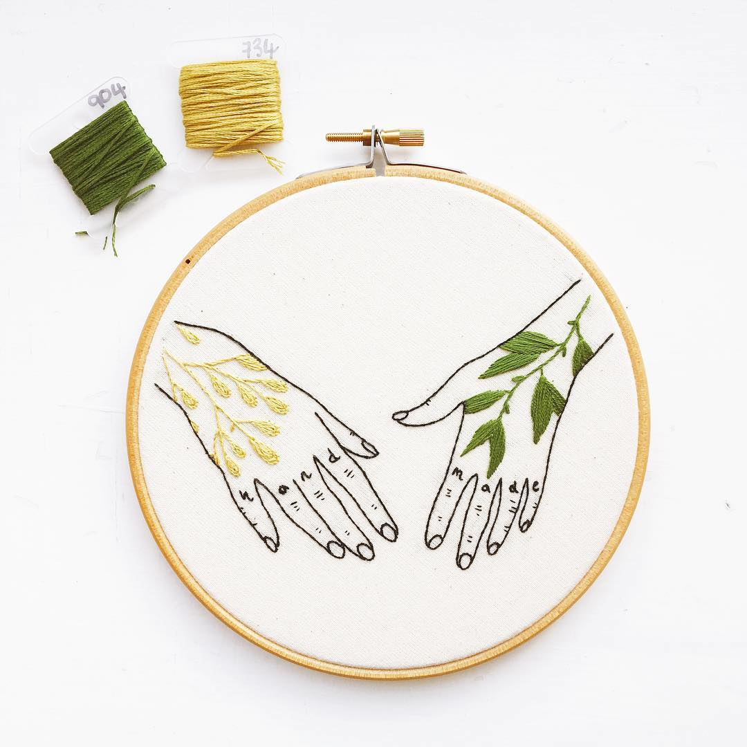 Embroidery hoop art by Kate Appleby