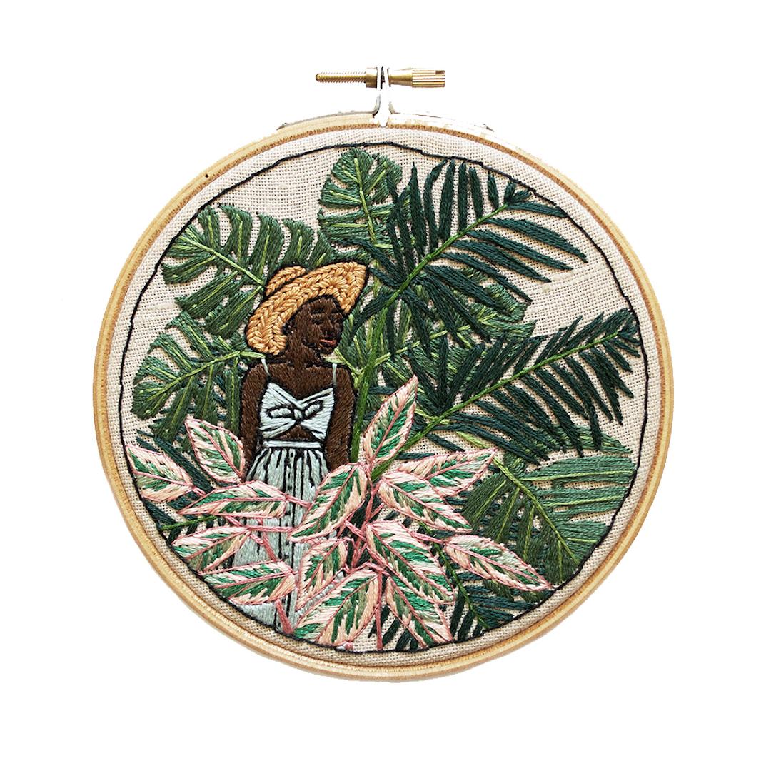 Sarah K. Benning embroidery hoop art