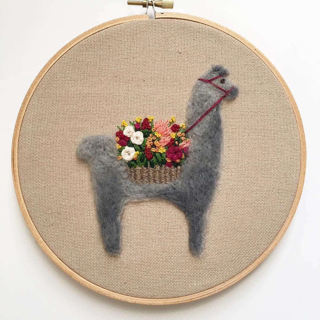 Fuzzy and Flora needle felted llamas hoop art