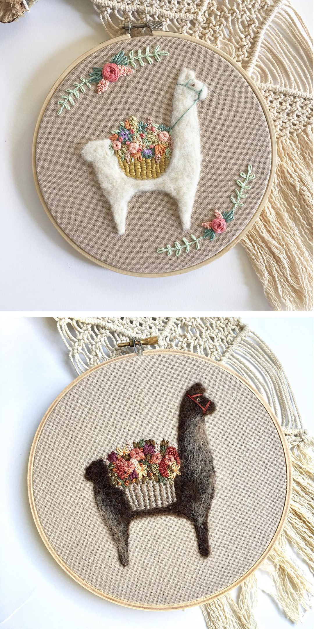 Fuzzy and Flora needle felting hoop art
