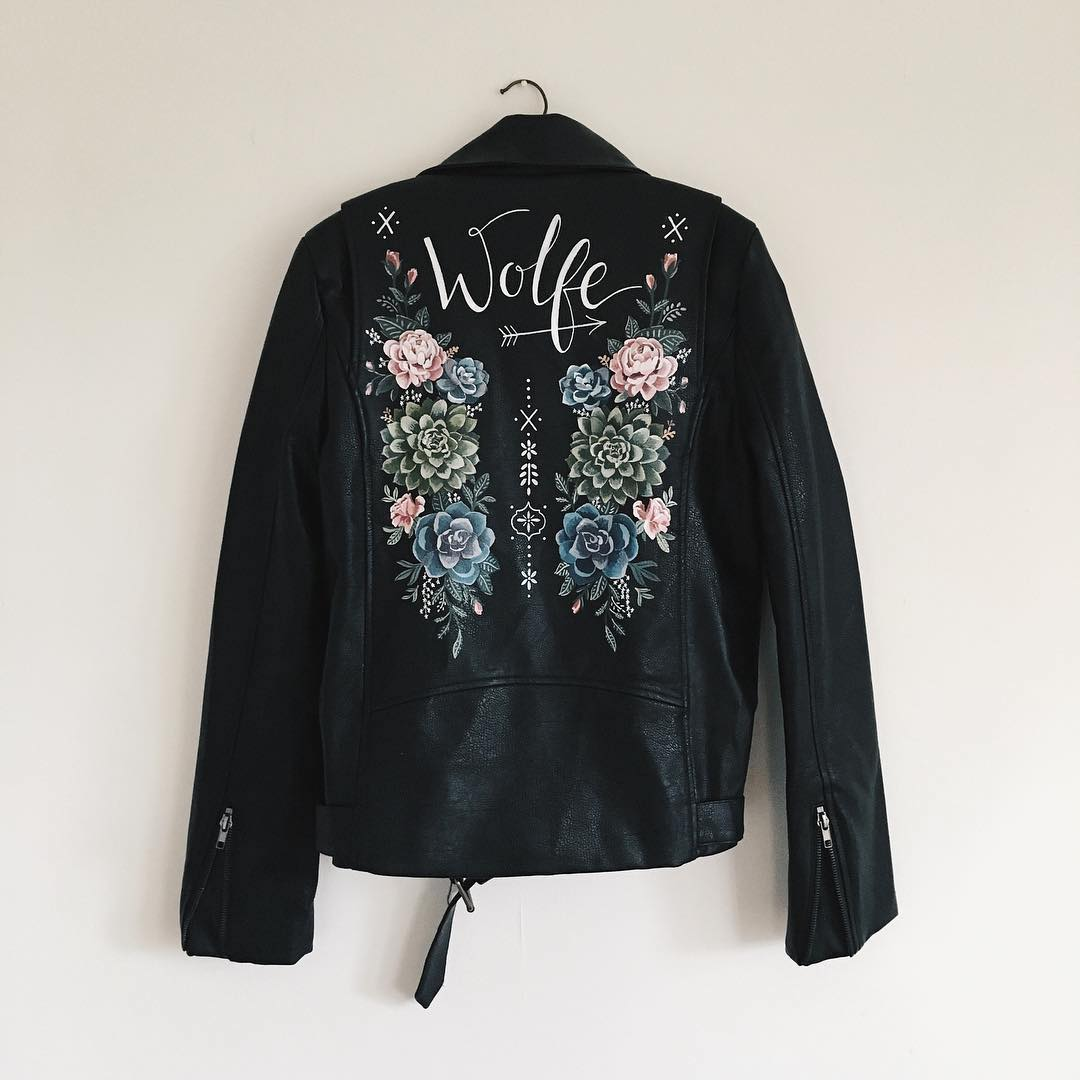Painted leather jacket by Wolf & Rosie