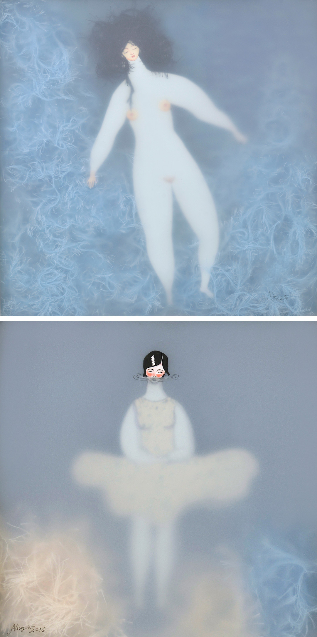 illustrations of nude women swimming by Sonia Alins