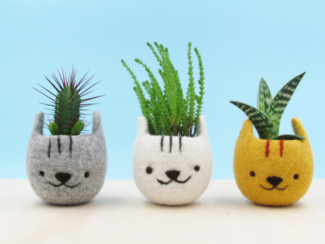 The Yarn Kitchen felted animal planters