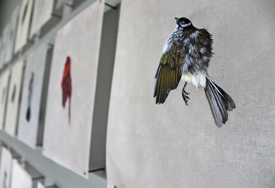 bird paintings on silk by jieyu zhang