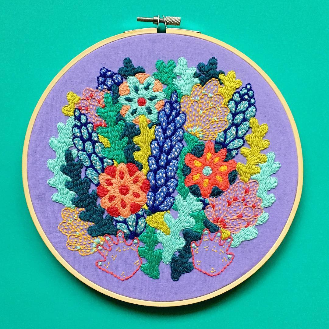 Colorful embroidery by Kelly Ryan