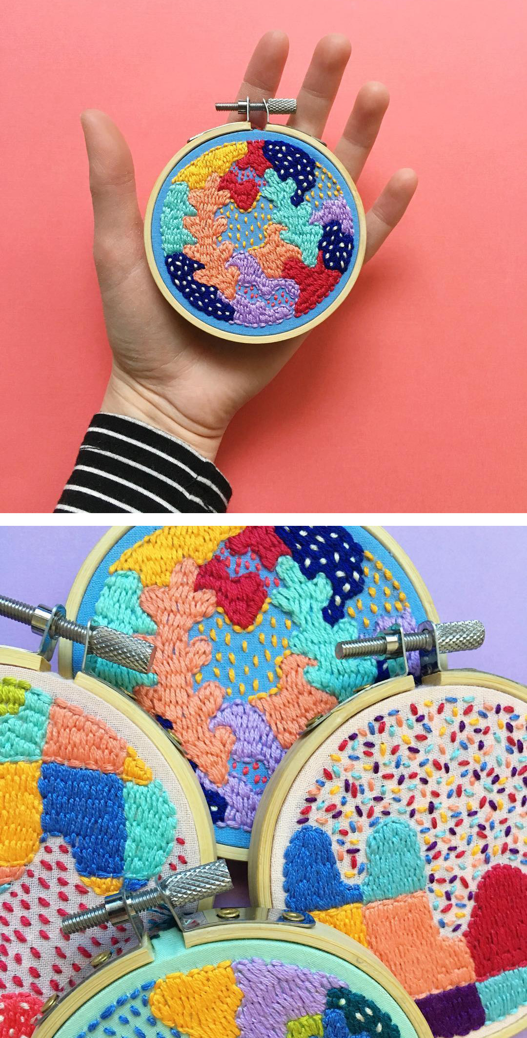 Colorful contemporary embroidery by Kelly Ryan