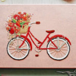 Charming Bicycle Embroideries Have Beautiful Blooms Spilling from Their Baskets