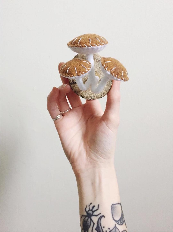 Mushroom felt crafts by Close Call Studio