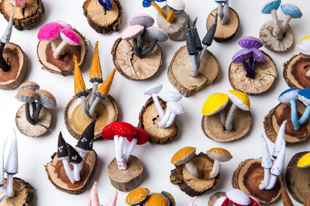 Mushroom felt crafts by Close Call Studio