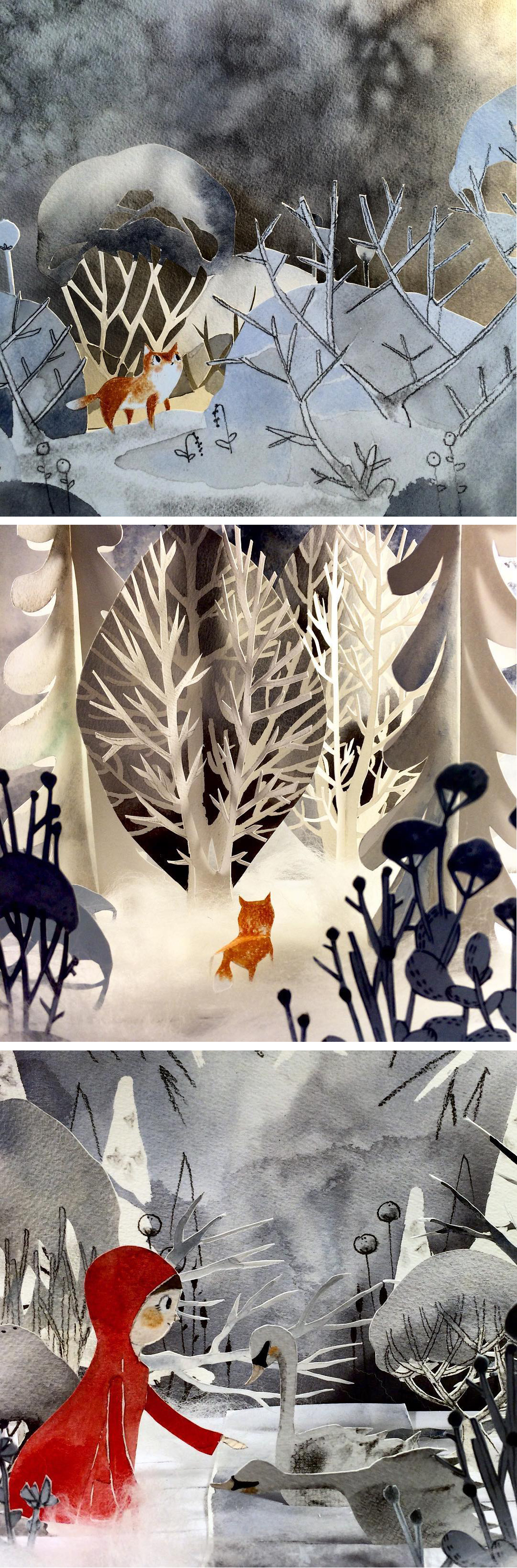 Cut paper diorama by Kelly Pousette