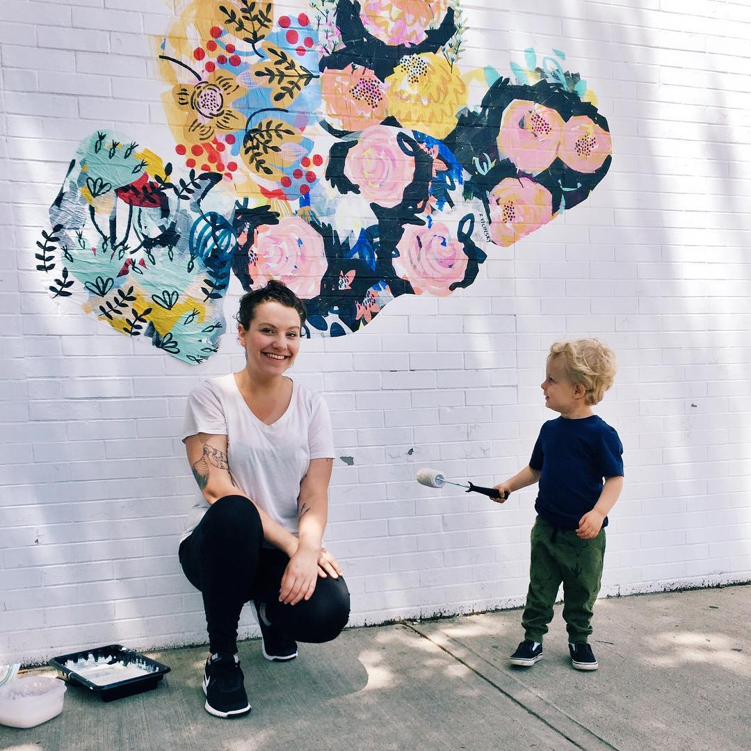 Wheat paste flower mural by Rebecca Volynsky