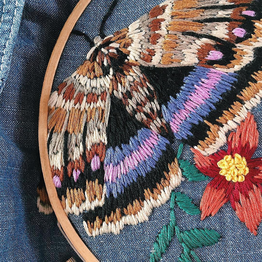 Embroidered clothing by Sam Eldridge