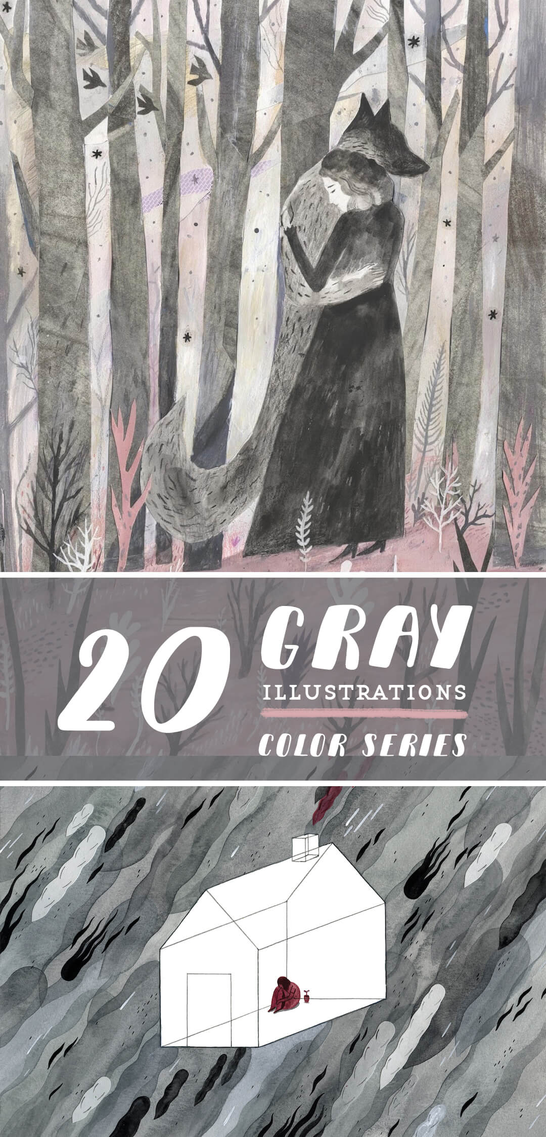 Gray illustrations