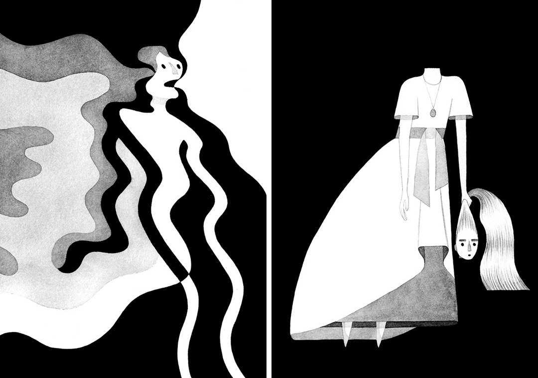 Gray illustrations by Eleni Kalorkoti