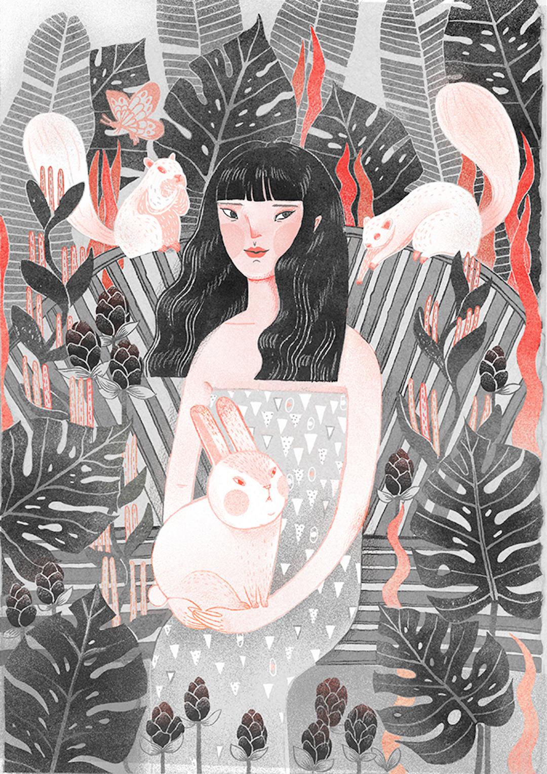 Gray illustration by Hannah Li