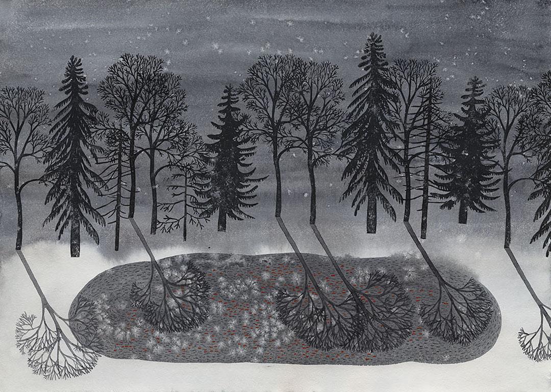 Gray illustration by Olga Ezova Denisova
