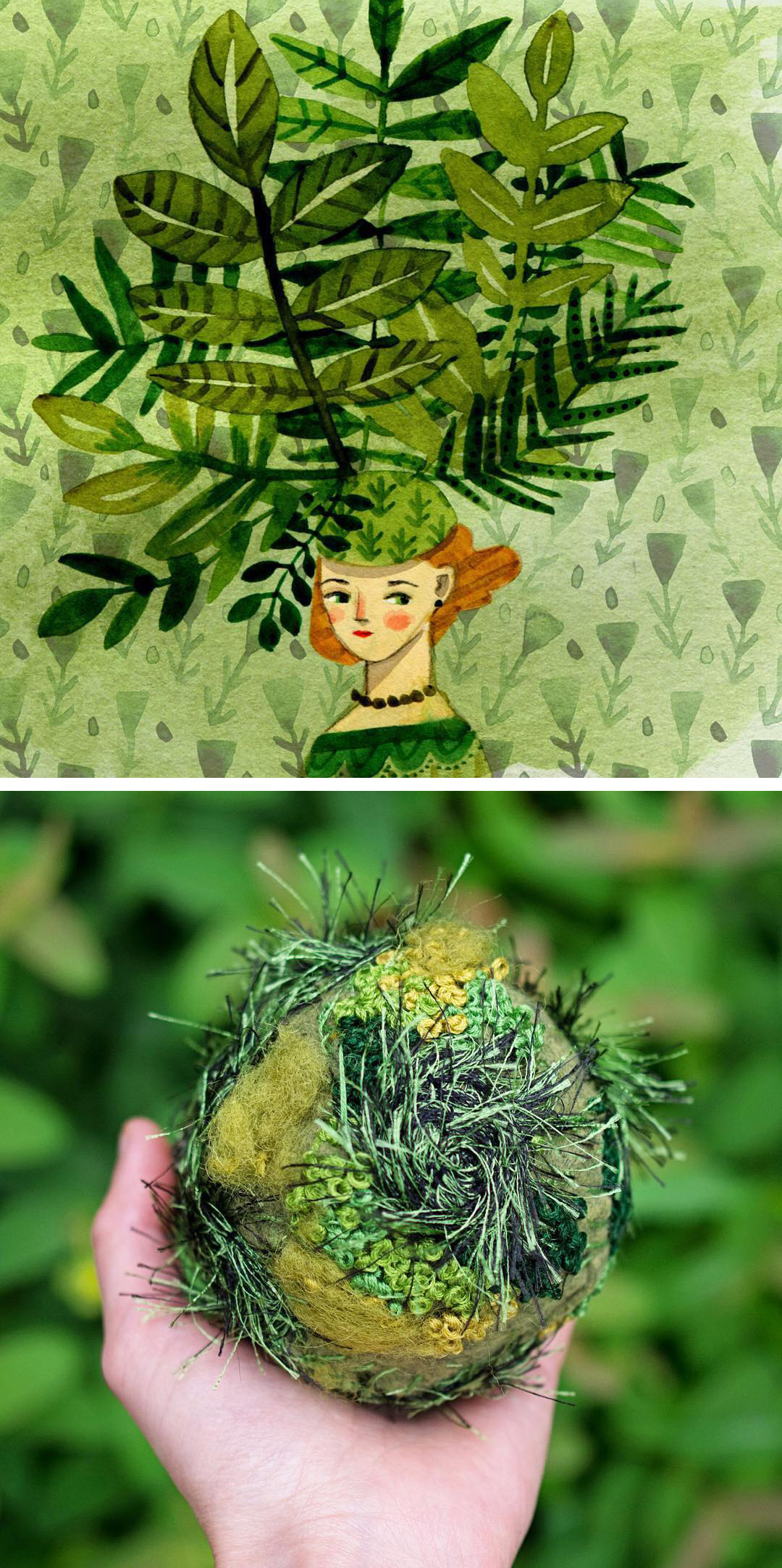 Green art — top: Abigail Halpin, bottom: Emma Mattson