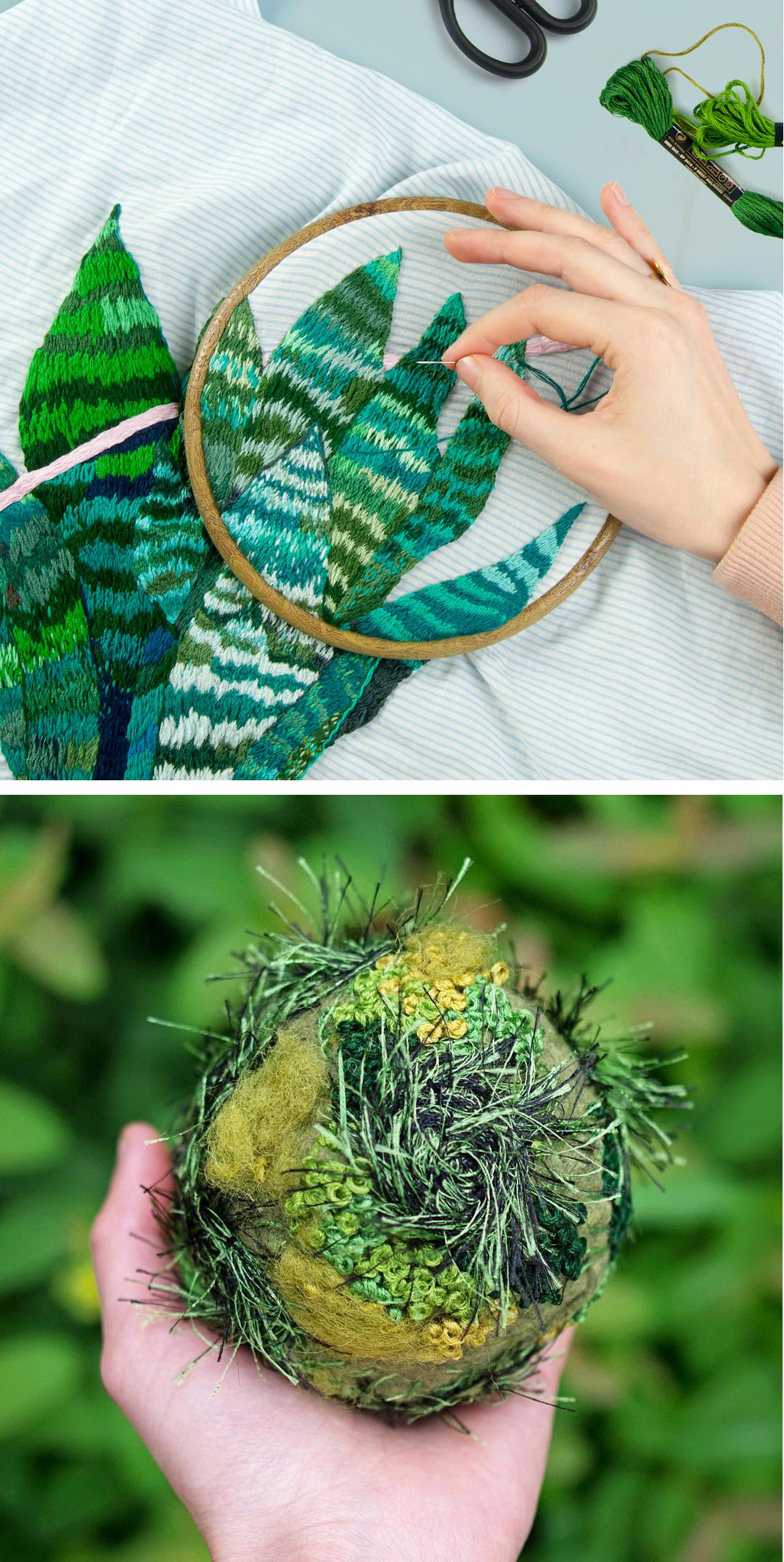 Green embroidery — top: Sasha Marchuk; bottom: Emma Mattson