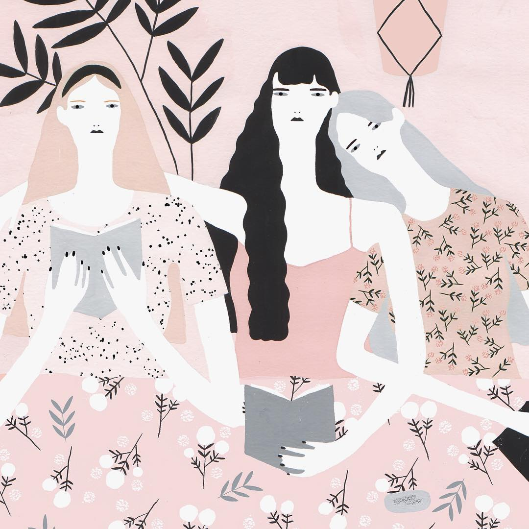 Pink illustrations by Alessandra Genualdo