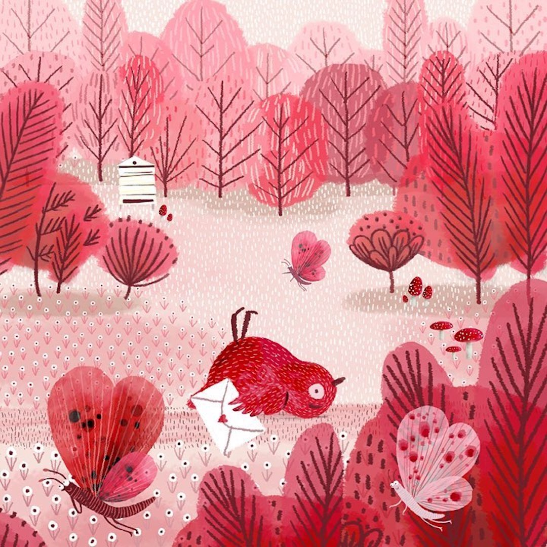 Pink illustration by Jane Newland