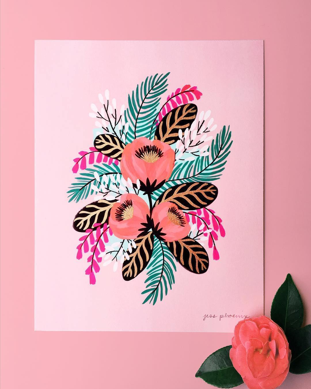 Pink illustration by Jess Phoenix