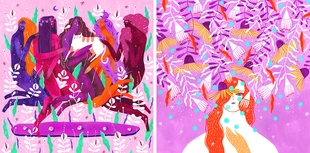 Pink illustrations by Madalina Andronic