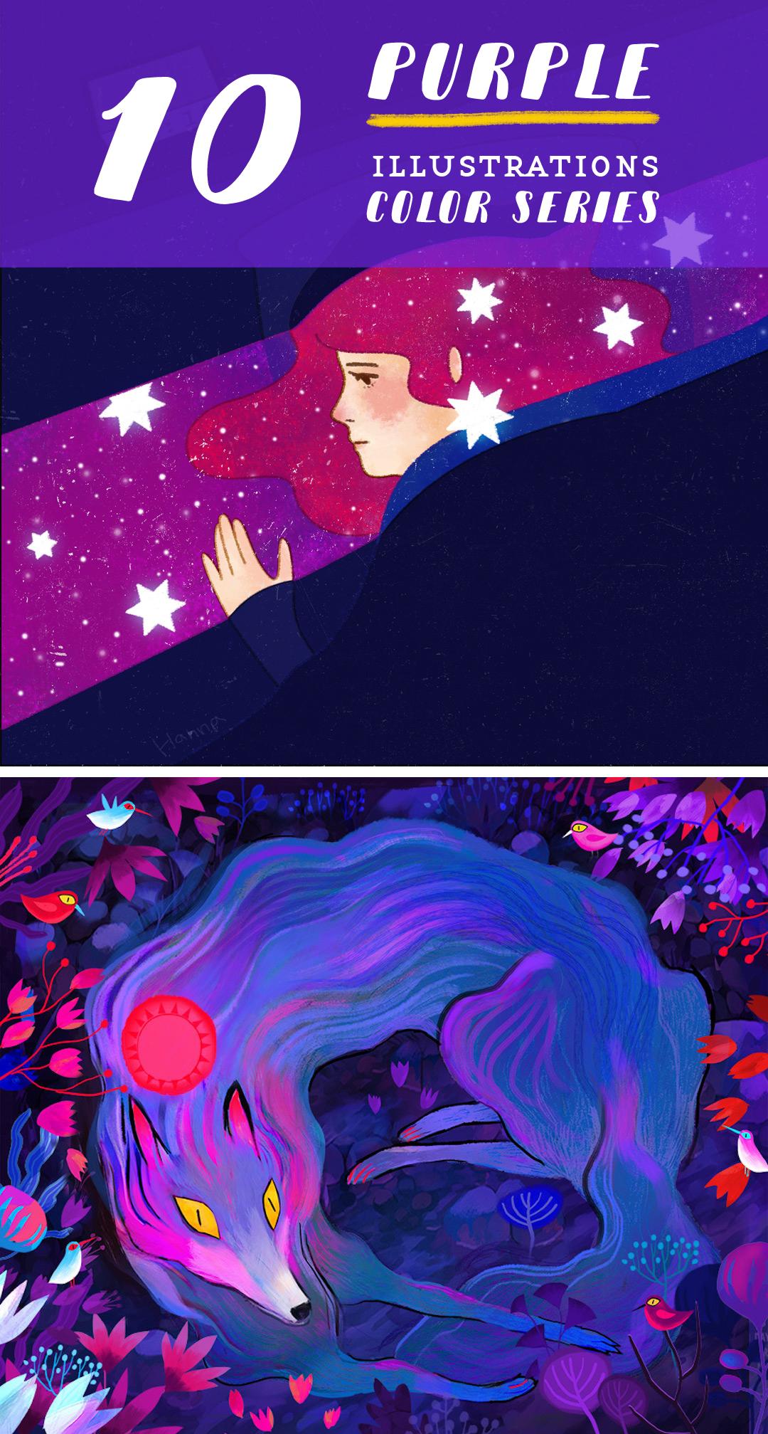 Purple illustrations