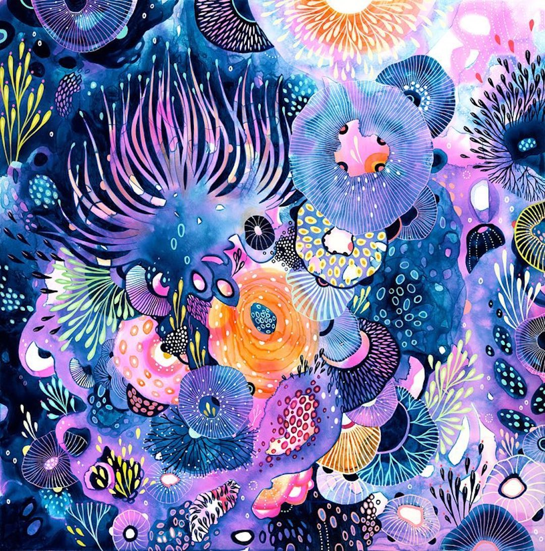 Purple illustration by Yellena James