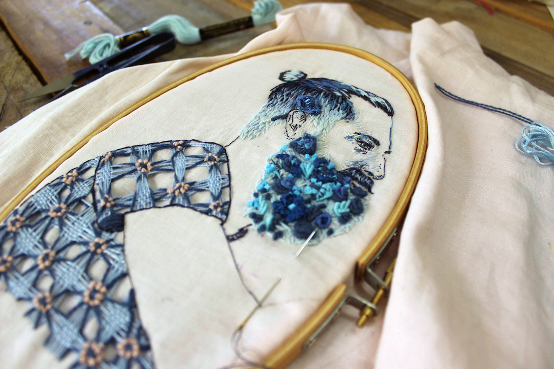 embroidery portraits look like they were created with a pen