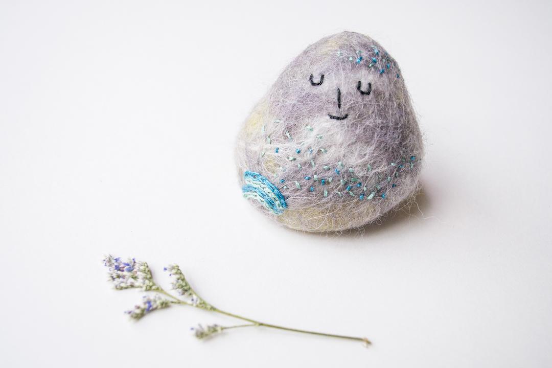 Felted rock art by Shu Ning Lim
