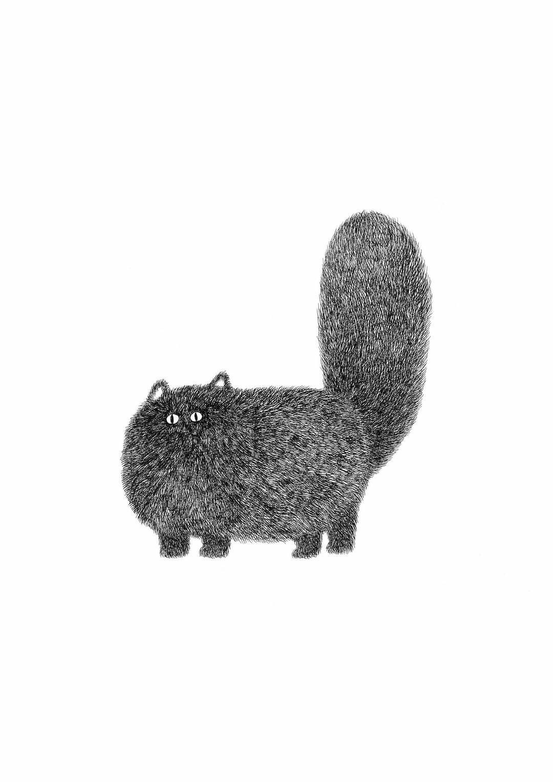 Fluffy cat art by Kamwei Fong