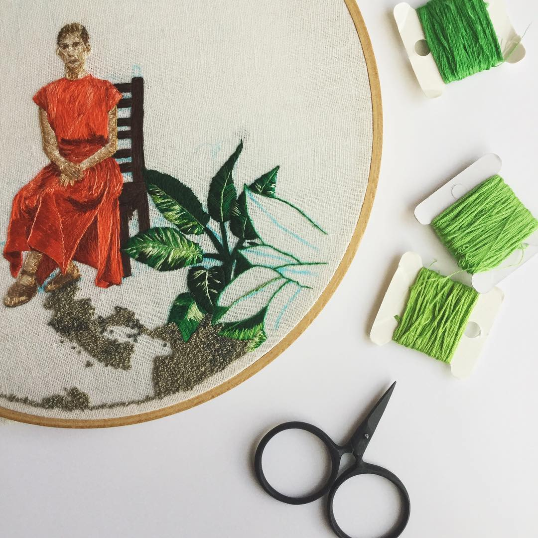 Hand embroidery hoop art by Desert Eclipse Studio