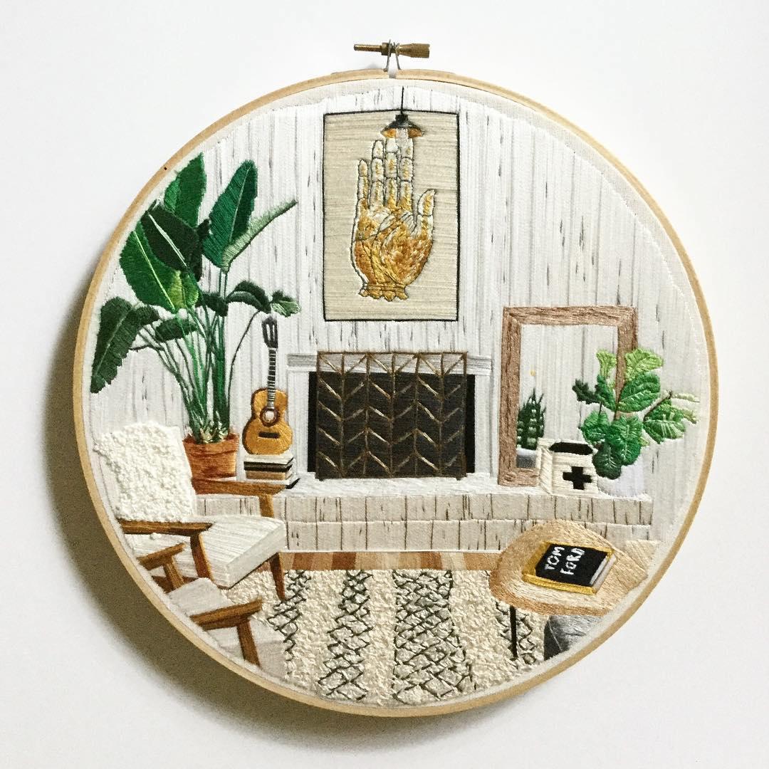 Embroidery hoop art by Desert Eclipse Studio